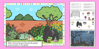 Silly G Sentences Cut and Stick Pictures - silly g, sentence, cut and stick, pictures
