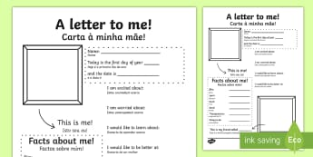 A Letter To Myself Writing Activity English/Portuguese - A Letter To Myself Writing Activity - letters, ourselves, write, oursleves, leters, lettes, ourselvs