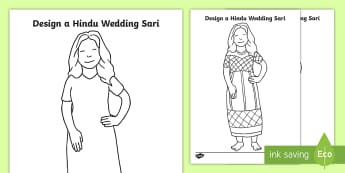 EYFS Hindu Wedding Sari Activity Sheet - design, dress, wedding, gown, idea, worksheet