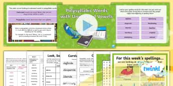 PlanIt Spelling Year 5 Term 3B W1: Unstressed Vowels in Polysyllabic Words Spelling Pack - Spellings Year 5, year 5, y5, spelling, spell, words, list, SPaG, GPS, unstressed, vowels, polysylla
