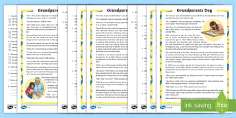 Grandparents Day Differentiated Reading Comprehension Activity -  celebration, english, Irish, History, retrieval, reading skills, inference