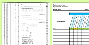 1st Class Maths Irish Curriculum Assessment Pack September to November - Maths, Irish curriculum, 1st Class, assessment