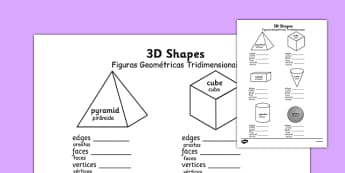 Figuras Geométricas Tridimensionais Worksheets Portuguese Translation - portuguese, 3d shape, properties, worksheets, 3d, shape