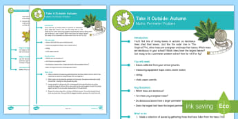 KS2 Take It Outside: Autumn Maths - Perimeter Problem Activity - Origin of Fire, Outdoor and Woodland Learning, Wonder Investigate Learn Discover, Forest School, Out