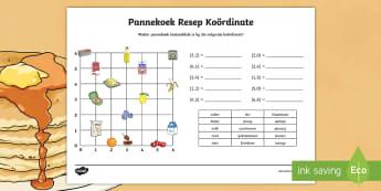 Pannekoek Resep Koordinate Aktiwiteit bladsy - deeg, bak, resep, lepel, resep, vier, fees, bestanddele
