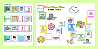 Who Where When Board Game - question words, question games, game