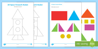 2D Shapes Firework Cut Out Matching Activity - Sparks in the Sky, 2D shapes, flat shapes, circle, square, rectangle, triangle, star, rocket, shape,