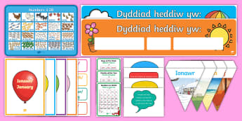 Foundation Phase Maths Display Pack Welsh - back to school, display, days of the week, months of the year, welsh