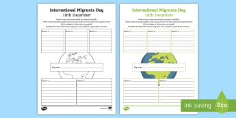 International Migrants Day My Local Area Activity Sheet - worksheet, my town, economics, rights, immigration, refugee, Scottish, localities