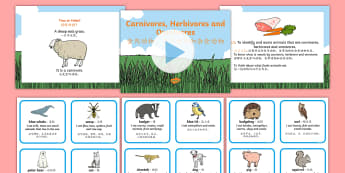 Identifying Herbivores, Carnivores and Omnivores Differentiated Lesson Pack English/Mandarin Chinese - Identifying Herbivores Carnivores and Omnivores Powerpoint Task Setter and Activity, carnivoures, he