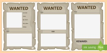 Blank Wanted Posters - blank, wanted, posters, display, role-play