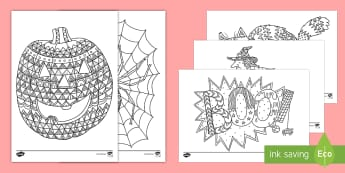 Halloween-Themed Mindfulness Colouring Sheets Colouring Pages English/Hindi - Witch, old-witch, magic, black cat, dark night, pumpkin, celebration, potion