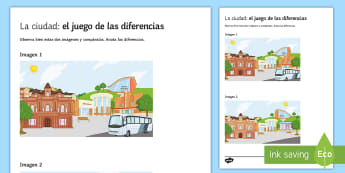 My City Spot The Differences Game - Spanish Speaking Practice, places in town, city, town, spot the differences, encuentra las diferenci