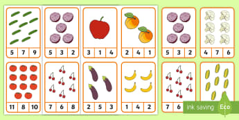 Food Counting Peg Cards Activity - pets, family pets, classroom pets, counting cards, peg counting cards, counting, number recognition,