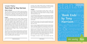 'Book Ends' by Tony Harrison Teacher Notes for Study  - unseen poetry, contemporary poetry, GCSE English Literature, poetry comparison, meaning, understandi