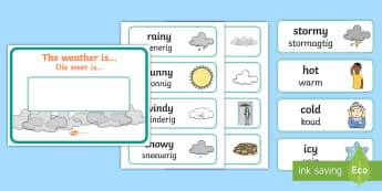 Weather Display Pack English/Afrikaans - Warm, cold, seasons, sun, clouds, wet, dry, EAL