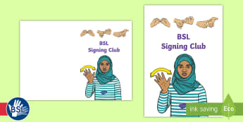 BSL Signing Club Book Cover - BSL, British sign language, bsl club, sign language club