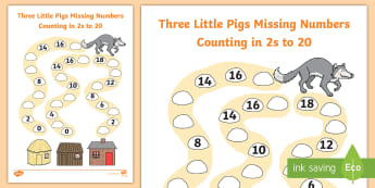 Three Little Pigs Path Missing Numbers Counting in 2s to 20 Activity Sheet - three little pigs, 3 little pigs, Winter, number recognition, counting in 2s, 0-20, counting, worksh