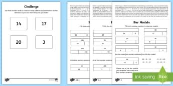 Year 2 Maths Bar Models, Inverse Operations and Commutativity Homework Differentiated Activity Sheets  - related number sentences, part-part-whole, year 2, maths, homework, bar models, commutativity