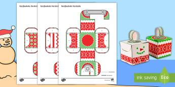 Eenvoudige 3D Kersballe Kersversierings Aktiwiteit Papier Kuns  - Kersboom, Desember, sneeuman, maak, model, kreatief