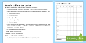 Spanish Verbs Battle Ships Board Game - Spanish Grammar, battleship, hundir la flota, verbs, conjugation, game, board game