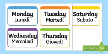 Days of the Week Flashcards English/Italian - Days of the Week Flashcards - days, week, flashcards, cards, days of the wek, days pf the week, days