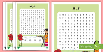 Split 'a_e' Digraph Differentiated Word Search - vowel diagraph, reading, first class, second class, 1st class, 2nd class, jolly phonics, jolly gramm