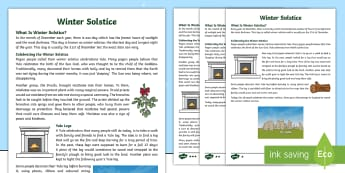 Winter Solstice Differentiated Fact File - Religion, Christmas, Earth, Druid, Pagan, celebration, seasons, beliefs,Scottish