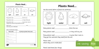Plants Need Activity Sheet - ACSSU002, growing well, staying alive, prep, reception, worksheet
