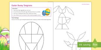 Easter Bunny Tangrams Activity Sheet - Tangram, easter, Egg, Bunny, fun, shape, properties