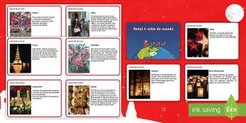 Natal à volta do mundo, cartões de factos - natal, natais, celebraçao, festa, natividade, solsticio de inverno, inverno, pai natal, papai noel,