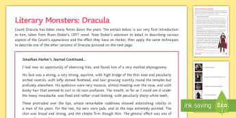 Dracula Activity Sheet - Stoker, Halloween, monster, vampire, describe, worksheet, Bram