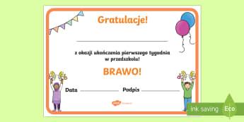 Certyfikat Mój pierwszy tydzień  - dyplom, certyfikaty, przedszkole, pasowanie, rozpoczęcie, początek,Polish