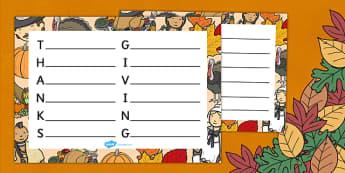 Thanksgiving Acrostic Poem Template - Thanksgiving, acrostic poem
