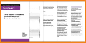 2018 KS1 Teacher Assessment Guidance - y2, statutory assessments, moderation, accurate judgements, end of KS1