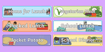 Lunch / Dinner Time Self Registration Banners - Lunch Banner, Dinnrer Banner, food, self-registration, lunch registration, Banner, Classroom labels, Area labels, Area Signs, Classroom Areas, Poster, Display