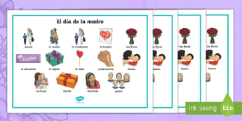 Mother's Day Word Mat - Spanish - Spanish, KS2, vocabulary, mother's, day, word, mat, festivities, dia del la madre
