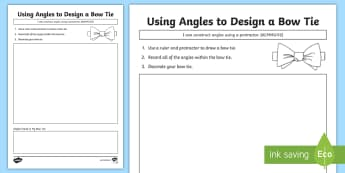 Using Angles to Design a Bow Tie Activity Sheet - ACMMG112, construct angles, angles, draw angles, protractor, degrees, worksheet, compare angles, fat