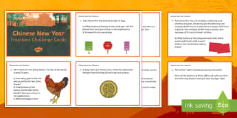 UKS2 Chinese New Year Fractions Maths Challenge Cards - Chinese New Year, Year 5, Year 6, Y5, Y6, Upper Key Stage 2, Fractions, Maths, Challenge Cards