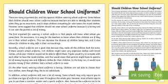 Should Children Wear School Uniforms? Discussion Writing Sample - Literacy, Should Children Wear School Uniforms? Discussion  Writing Sample, year 3, year 4, discussi
