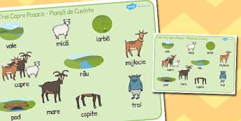 Cele trei capre posace - Planșă cu imagini și cuvinte - cele trei capre posace, poveste, planșă, imagini, cuvinte, materiale, materiale didactice, română, romana, material, material didactic