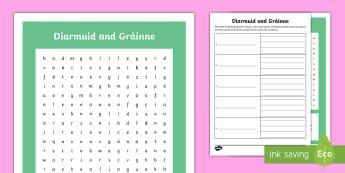 Diarmuid and Gráinne Word Search and Worksheet / Activity Sheet - Irish Tales, The Fianna, Fionn, Irish Stories, High King of Ireland,Irish