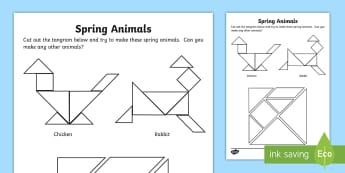 Spring - Animal Tangram Activity - maths, shapes, triangles, chicken, rabbit, puzzle
