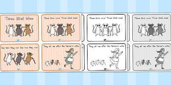 Three Blind Mice Story Sequencing 4 per A4 - sequence, mouse