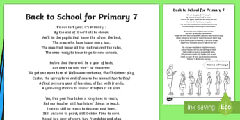 Back to School Primary 7 Poem - New term, Beginning, poetry, year group, September