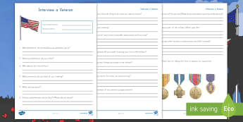 Interview a Veteran Activity Sheet - Veterans Day, Soldier, Service Member, Speaking and Listening, Army, Navy, Air Force, Marine Corps,