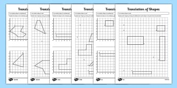Translation of Shapes Worksheet / Activity Sheet Pack - KS2, Key Stage 2, Year 5, translate, translation, coordinates, axis, axes, worksheet, congruent, congruence