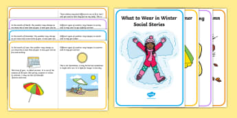 What to Wear in Different Seasons Social Situation - Autumn, seasons, september, october, topics, ks1, social story, special educational needs, ASD, Spee