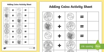 Australian Coins Addition Activity - currency, lifeskills, money, community, mathematics,