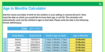 Child Age in Months Calculator Spreadsheet - months, date of birth, age, Excel, years, old in months
